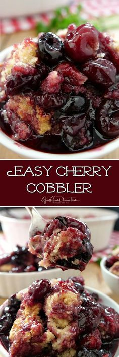 Easy Cherry Cobbler is a delicious, homemade, classic cherry cobbler recipe packed full of juicy sweet cherries. Easy Cherry Cobbler is a delicious, homemade, classic cherry cobbler recipe packed full of juicy sweet cherries. Cherry Desserts, Köstliche Desserts, Delicious Desserts, Yummy Food, Black Cherry Recipes, Tasty, Easy Cherry Cobbler, Fruit Cobbler, Cobbler Topping