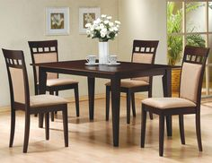 Exceptionnel Coaster Cushion Back Dining Chairs, Cappuccino, Set Of 2     Product  Description: Contemporary Style Cappuccino Finish Solid Wood Dining Chairs.