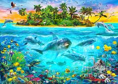 Dolphin Paradise Island - Jan Patrik Krasny A rich underwater scene against a stunning tropical island with a lush green rainforest and lots of birds!
