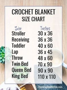 Learn how to figure our the number of starting chains you need for any size crochet blanket. The crochet blanket size chart will come in so handy! Crochet Quilt, Crochet Blanket Patterns, Baby Blanket Crochet, Crochet Stitches, Knit Crochet, Crochet Blankets, Crochet Afghans, Things To Do When Bored, Crochet Instructions