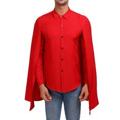 Button Up Solid Color Cloak Shirt - Red - 4874858414 - Men's Clothing, Men's Tops & T-Shirts, Men's Shirts # # Mens Shirts Sale, Men's Shirts, Georgia, Casual Mode, Marshall, Korea, Black And Navy, Ghana, Two Pieces