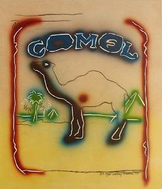 """Larry Rivers - Stencil Camel,1978. Rivers is considered by many scholars to be the """"Godfather"""" and """"Grandfather"""" of Pop art, because he was one of the first artists to really merge non-objective, non-narrative art with narrative and objective abstraction. A friend once described Larry Rivers as the only man addicted to nicotine who didn't smoke"""