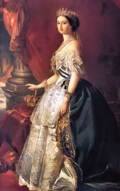 """Portrait of the Empress Eugénie de Montijo"" by Franz Xaver Winterhalter Franz Xaver Winterhalter, Victorian Art, Victorian Fashion, Wal Art, Oeuvre D'art, Fashion History, Ikon, Glamour, Beautiful"