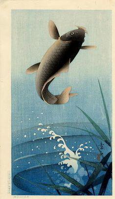 Soseki Komori: Leaping Carp - Japanese Art Open Database