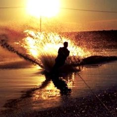 Waterskiing at Sunset, The Delta, Northern California