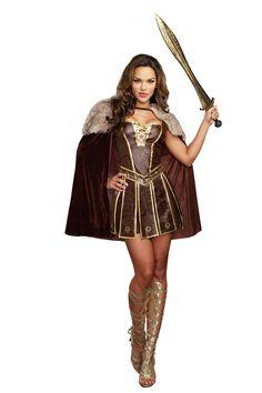 Warrior Princess Medieval Renaissance Viking Lion Crest High Low Amazon Costume