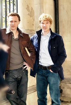 "Tom Hiddleston and Benedict Cumberbatch | ""War Horse"" promo shoot (2012) Oh goodness!! the Hair!!!!!"