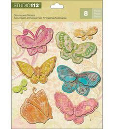 K & Company Studio 112 Dimensional Stickers - 6PK/Candy Butterfly