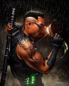 Blade!! Art by Mystic Oracle  #Blade #Marvel #MarvelComics #Comics #ConceptArt #Art #Artist #Superhero
