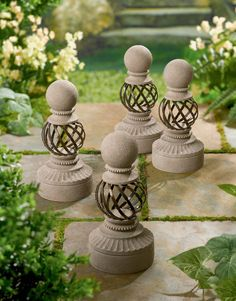 Metal and stone garden chess pieces!
