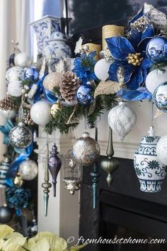 This blue white and gold Christmas garland looks beautiful over this fireplace mantle. This blue white and gold Christmas garland looks beautiful over this fireplace mantle. Cohesive DIY Home Decor Ideas Blue Christmas Decor, Christmas Decorations For The Home, Gold Christmas, Xmas Decorations, Christmas Home, Christmas Crafts, Christmas Holidays, Christmas Villages, Christmas Vacation