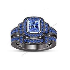14Kt Black Gold Finish Princess Cut Blue Sapphire Her Bridal Engagement Ring Set…
