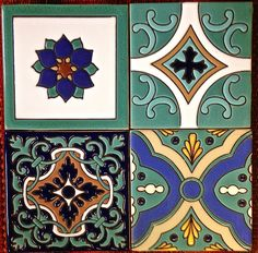 Here's a sampling of a few raised-relief tiles. Individually hand-painted, 100% ceramic and high temperature fired clay for durability. Most colors and patterns also available in porcelain.