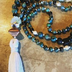 African turquoise and aquamarine. I love working with stones of different shapes and sizes to add a textural element to the mala during meditation. . . . #malabeads #aquamarine #tasselnecklace #handmadejewelry #etsyshop #prettypretty