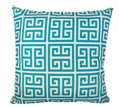 18''x18'' Indoor/Outdoor Labyrinth in Teal Pillow Cover