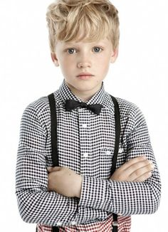 ring bearer-gingham shirt with suspender and bow tie