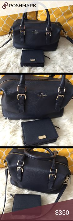 OFFERS?Kate Spade Navy Blue Bag & Wallet Set AuthenticGreat condition set. Minimal sign of use on handle one corner and hardware. All parts present and functional. Zips on top to close, has several pockets inside, and strap is removable. Roomy bag just right size. Wallet in excellent shape. Lots of compartment also has zip slot for coins. Don't be shy to make an offer kate spade Bags Satchels