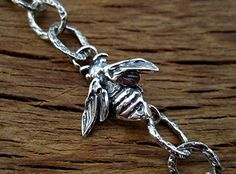 Artisan Handmade Bee Bracelet Link, Necklace Link and Earring Component in Sterling Silver (one) (N) Silver Work, Save The Bees, Handmade Sterling Silver, Etsy Earrings, Jewelry Findings, Artisan Jewelry, Arrow Necklace, Bracelets, Number