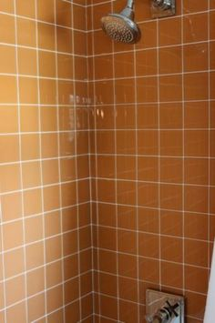 The tile in this second-floor bathroom is actually clear tile with a colored paper backing.   **Which MEANSSSS that I could also paint a mural on the wall, and instal the clear tile over it!