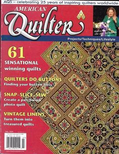 American Quilter magazine Buttons Photo patchwork Vintage linens Diamonds