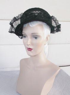 1930's Vintage Open Crowned Black Horse Hair by MyVintageHatShop