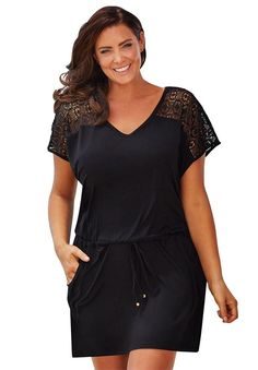 Roamans Women's Plus Size Mesh Top Coverup *** Hurry! Check out this great product : Plus size coats Women's Plus Size Swimwear, Plus Size Bikini, Plus Size Cover Up, Plus Size Summer Tops, Crochet Cover Up, Crochet Top, Plus Size Coats, Beachwear For Women, Fashion Outfits