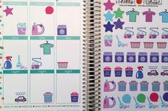Cleaning StickersJune Fits Erin Condren and others Planner Stickers Kiss Cut Calender Stickers Scrapbooking Journaling (3.80 USD) by LillyTop
