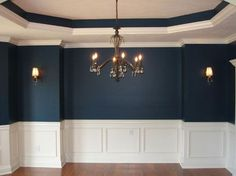 molding for the dining room wall | Formal Dining Room, Recessed Ceiling, Custom Molding, Chandelier, Wall ...