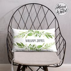 Personalized Name Pillow, Custom Name Cushion, Green Leaves Nursery Throw Pillow, Personalized Baby Boy Gift, Baby Shower Gift, Gift For Him