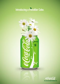 eCoca Cola - An environmental friendly Coke Poster - Flower - Because this product is supported by Greenpeace and WWF Coca Cola Can, Always Coca Cola, Pepsi Cola, Coke Ad, Creative Advertising, Advertising Design, Marketing And Advertising, Advertising Ideas, Ads Creative