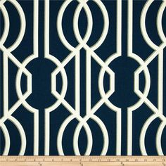 """Valance, Pair of Curtain/Drapery Window Treatment Panels 50"""" in width by up to 120"""" in length - Art Deco design in Ivory, Gray, Navy"""