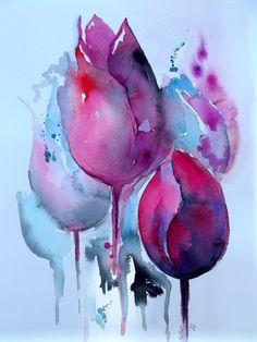 Abstract Original Watercolor Painting Free Shipping by LanasArt, $35.00