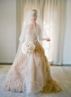 Best Wedding Dresses & Gowns Image Description Blush ruffled and feather wedding gown: www. Pretty Wedding Dresses, Gorgeous Wedding Dress, Beautiful Gowns, Beautiful Bride, Dress Wedding, Feather Wedding Gowns, Bridal Gowns, Vera Wang Wedding, Dress Vestidos