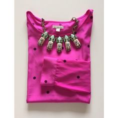 GAP Polka Dot Shirt Gorgeous pink polka dot shirt. Long sleeve. Buttoned cuffs. 100% Polyester. Worn once. GAP Tops Blouses