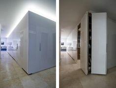 Cocinas ocultas con armario exento