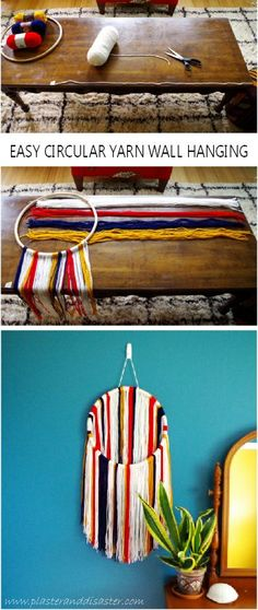 Easy Circular Yarn Wall Hanging - make in one afternoon! - Plaster & Disaster