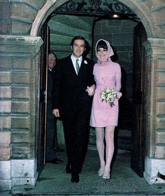 "The Fashion of Audrey Count Andrea Paolo Mario Dotti (or Dr. Andrea Dotti, a famous Italian psychiatrist) photographed with the former actress Audrey Hepburn (now Signora Hepburn Dotti) after their wedding at the townhall in Morges (Switzerland), on January 18, 1969. -Audrey was wearing a ""modern"" wedding dress, created especially for her by Hubert de Givenchy and shoes of Roger Vivier."