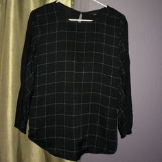 Windowpane top Black and white. Polyester in front knitted fabric on back . Dolman sleeve Ann Taylor Tops Tees - Short Sleeve