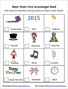 new years eve for kids scavenger hunt free printable