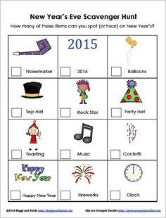 New Year's Eve Scavenger Hunt for Kids (FREE Printable)~ BuggyandBuddy.com