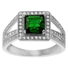 1 1/2 CT. T.W. Square-cut Cubic Zirconia Halo Prong Set Ring in Sterling Silver - Green, 9, Women's