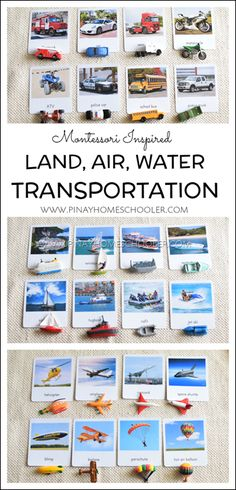 Montessori Inspired Land, Air and Water Transportation Cards The Effective Pictures We Offer You About Montessori imprimer A quality picture can tell you many things. You can find the most beautiful p Montessori Science, Montessori Classroom, Montessori Toddler, Homeschool Kindergarten, Homeschooling, Infant Activities, Preschool Activities, Water Theme Preschool, Dinosaur Activities