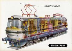 """Laminátka"" Type 32 E ( ) Six-Axle A-C Electric Locomotive Rail Transport, Electric Locomotive, Cutaway, Techno, Transportation, Airplanes, Trains, Europe, Type"