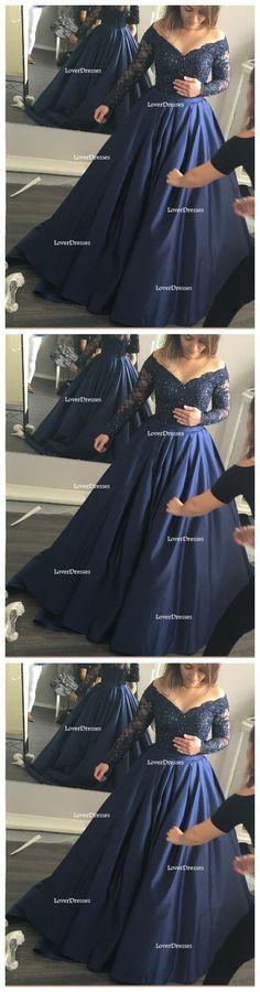Long Sleeve Off Shoulder A line Evening Prom Dresses, Navy Blue Long Party Dresses, Prom Dresses Online, 2017 Prom Dresses, 17099