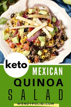 This Mexican Quinoa Salad has it all! Creamy avocado, black beans, corn, tomato, red onion and a kick from pickled jalapeño. Top it off with a tangy Chipotle Lime Vinaigrette and crunchy oven baked corn tortillas and you have got a healthy vegan quinoa salad recipe that feels like anything but a sacrifice! This recipe is perfect to make on the weekend for meal prep. Quinoa Recipes Easy, Vegetarian Salad Recipes, Healthy Gluten Free Recipes, Vegan Recipes, Baked Corn, Oven Baked, Easy High Protein Meals, Mexican Quinoa Salad, Lime Vinaigrette
