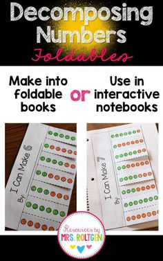 This set of Decomposing Numbers Foldables will help your students visualize this concept for numbers 2-10. You can make them into foldable books, or use them in interactive notebooks!