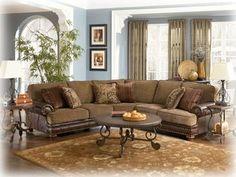 Ashley Furniture Millenium Hartford Walnut Sectional Sectional Living Room