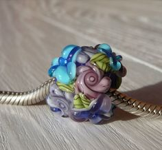European Charm Bead, Large Hole Bead  -  Blue Hawaii by Sabrina Koebel Handmade Lampwork Beads