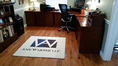 Custom Office Logo Rug made for Ann Warner LLC