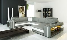 Divani Casa 6142 Modern Grey And White Bonded Leather Sectional Sofa - 1